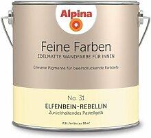 Alpina 2,5 L. Feine Farben, Farbwahl, Edelmatte Wandfarbe für Innen (No.31 Elfenbein-Rebellin - Zurückhaltendes Pastellgelb)