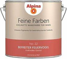 Alpina 2,5 L. Feine Farben, Farbwahl, Edelmatte Wandfarbe für Innen (No.22 Befreiter Feuervogel - Kraftvolles Glutrot)