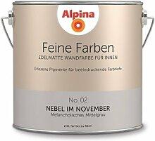 Alpina 2,5 L. Feine Farben, Farbwahl, Edelmatte Wandfarbe für Innen (No.2 Nebel im November - Melancholisches Mittelgrau )