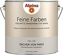 Alpina 2,5 L. Feine Farben, Farbwahl, Edelmatte Wandfarbe für Innen (No.6 Dächer von Paris - Romantisches Taupe)
