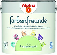 Alpina Farbenfreunde 2,5L Kinderzimmerfarbe Wandfarbe (Nr.6 Papageiengrün)