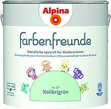 Alpina Farbenfreunde 2,5L Kinderzimmerfarbe Wandfarbe (Nr.7 Kolibrigrün)