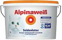 Alpina Weiss Wandfarbe Seidenlatex 2 L