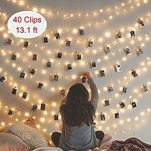 Alquar LED Foto Clips Lichterketten - 40 Photo Clips 5M Batteriebetriebene Stimmungsbeleuchtung Dekoration für Hängendes Foto Memos Kunstwerke