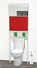 Alsapan 495234 – WC-Regal aus Holz, 63x20x195cm, rot, 23 x 63 cm