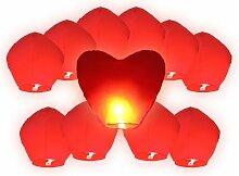 Alsino Himmelslaternen Hochzeit Set rot 11er Pack