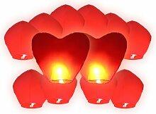 Alsino Himmelslaternen Hochzeit Set rot 12er Pack