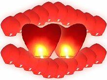 Alsino Himmelslaternen Hochzeit Set rot 22er Pack