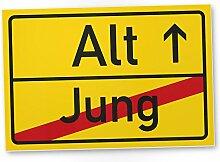 Alt (Jung) Schild - Geschenk runder Geburtstag, Geschenkidee Geburtstagsgeschenk Männer / Frauen, Geburtstagsdeko / Partydeko / Party Zubehör / Geburtstagskarte