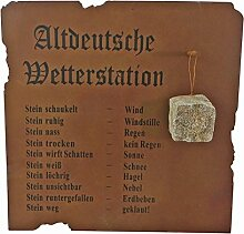 Altdeutsche Wetterstation, Wandbild, Metall, Edelrost, Gartendeko, lustige Deko