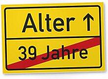 Alter (39 Jahre) Schild - Geschenk 40. Geburtstag, Geschenkidee Geburtstagsgeschenk zum Vierzigsten, Geburtstagsdeko / Partydeko / Party Zubehör / Geburtstagskarte