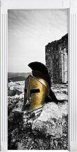 alter Helm einer Rüstung vor Ruine schwarz/weiß als Türtapete, Format: 200x90cm, Türbild, Türaufkleber, Tür Deko, Türsticker