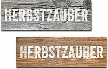 Altholz Schild HERBSTZAUBER Jahreszeit Dekoration Massiv Rustikal Landhaus (Braun)