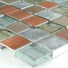 Alu Aluminium Glas Mosaik Metall Orange Silber Mix