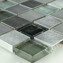 Alu Aluminium Glas Mosaik Metall Schwarz Grau Mix