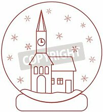 "Alu-Dibond-Bild 50 x 50 cm: ""Vector illustration of town hall with clock and the house inside glass ball with snow. Design element for postcard, invitation, "", Bild auf Alu-Dibond"