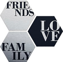 Alu-Dibond-Druck Love, Friends, Family (Set) 35x30