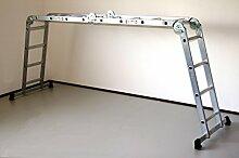 Alu-Gelenkleiter / Arbeitsleiter 4x4 Stufen / Sprossen ohne Plattform 460 cm, Aluminium, Marke: Szagato (Stehleiter, Anlegeleiter, Aluleiter, Kombileiter, Leiter)