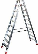 Alu-Profi-Doppelleiter 2x10 Stufen / Sprossen, 275x75x23cm, Aluminium, Marke: Szagato (Stehleiter, Anlegeleiter, Aluleiter, Kombileiter, Leiter)