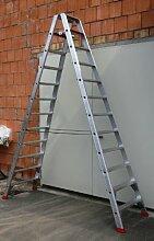 Alu-Profi-Doppelleiter 2x12 Stufen / Sprossen, 329x82x23cm, Aluminium, Marke: Szagato (Stehleiter, Anlegeleiter, Aluleiter, Kombileiter, Leiter)
