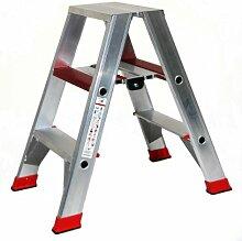 Alu-Profi-Doppelleiter 2x3 Stufen / Sprossen, 86x50x23cm, Aluminium, Marke: Szagato (Stehleiter, Anlegeleiter, Aluleiter, Kombileiter, Leiter)