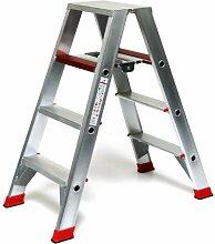 Alu-Profi-Doppelleiter 2x4 Stufen / Sprossen, 113x54x23cm, Aluminium, Marke: Szagato (Stehleiter, Anlegeleiter, Aluleiter, Kombileiter, Leiter)