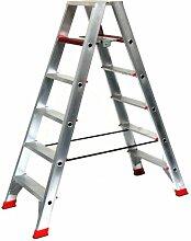Alu-Profi-Doppelleiter 2x5 Stufen / Sprossen, 140x58x23cm, Aluminium, Marke: Szagato (Stehleiter, Anlegeleiter, Aluleiter, Kombileiter, Leiter)