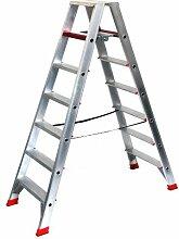 Alu-Profi-Doppelleiter 2x7 Stufen / Sprossen, 194x64x23cm, Aluminium, Marke: Szagato (Stehleiter, Anlegeleiter, Aluleiter, Kombileiter, Leiter)
