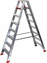 Alu-Profi-Doppelleiter 2x8 Stufen / Sprossen, 221x68x23cm, Aluminium, Marke: Szagato (Stehleiter, Anlegeleiter, Aluleiter, Kombileiter, Leiter)