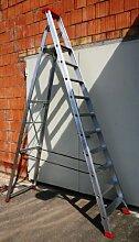 Alu-Profi-Stehleiter 10 Stufen / Sprossen, 338x75x16cm, Aluminium, Marke: Szagato (Stehleiter, Anlegeleiter, Aluleiter, Kombileiter, Leiter)