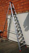 Alu-Profi-Stehleiter 12 Stufen / Sprossen, 392x82x16cm, Aluminium, Marke: Szagato (Stehleiter, Anlegeleiter, Aluleiter, Kombileiter, Leiter)