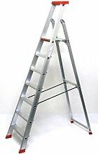 Alu-Profi-Stehleiter 7 Stufen / Sprossen, 257x64x16cm, Aluminium, Marke: Szagato (Stehleiter, Anlegeleiter, Aluleiter, Kombileiter, Leiter)