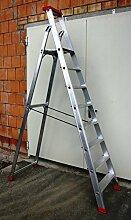 Alu-Profi-Stehleiter 8 Stufen / Sprossen, 284x66x16cm, Aluminium, Marke: Szagato (Stehleiter, Anlegeleiter, Aluleiter, Kombileiter, Leiter)