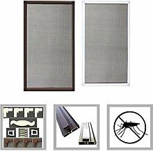 Alu Rahmen Fliegengitter Fenster Insektenschutz Mückengitter Gitter FF16(Weiß/80x100)