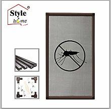 Alu Rahmen Fliegengitter für Fenster Insektenschutz-Fenster Mückengitter Gitter (Braun/100x120)