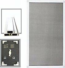 Alu Rahmen Fliegengitter für Fenster Insektenschutz Mückengitter Gitter FF16 (Weiß/100x120)
