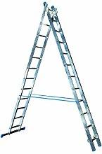 Alu-Schiebeleiter 2x12 Stufen / Sprossen, (2in1) 325x41x12cm, Aluminium, Marke: Szagato (Mehrzweckleiter / Stehleiter, Anlegeleiter, Aluleiter, Kombileiter, Leiter)