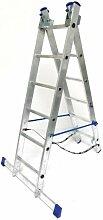 Alu-Schiebeleiter 2x6 Stufen / Sprossen / Sprossen, (2in1) 169x41x12cm, Aluminium, Marke: Szagato (Mehrzweckleiter / Stehleiter, Anlegeleiter, Aluleiter, Kombileiter, Leiter)
