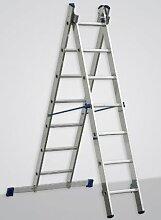 Alu-Schiebeleiter 2x8 Stufen / Sprossen, (2in1) 221x41x12, Aluminium, Marke: Szagato (Mehrzweckleiter / Stehleiter, Anlegeleiter, Aluleiter, Kombileiter, Leiter)