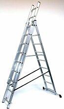 Alu-Schiebeleiter 3x10 Stufen / Sprossen, Arbeitshöhe: 6,8m, 276x48x17, Aluminium, Marke: Szagato (Mehrzweckleiter / Stehleiter, Anlegeleiter, Aluleiter, Kombileiter, Leiter)