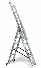 Alu-Schiebeleiter 3x6 Stufen, Arbeitshöhe: 4,8m, 166x41x17, Aluminium, Marke: Szagato (Stehleiter, Anlegeleiter, Aluleiter, Kombileiter, Leiter)