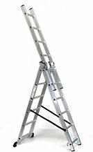 Alu-Schiebeleiter 3x6 Stufen / Sprossen, Arbeitshöhe: 4,8m, 166x41x17, Aluminium, Marke: Szagato (Mehrzweckleiter / Stehleiter, Anlegeleiter, Aluleiter, Kombileiter, Leiter)