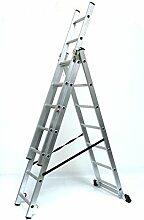 Alu-Schiebeleiter 3x7 Stufen / Sprossen, Arbeitshöhe: 5,2m, 193x41x17, Aluminium, Marke: Szagato (Mehrzweckleiter / Stehleiter, Anlegeleiter, Aluleiter, Kombileiter, Leiter)