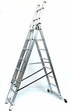 Alu-Schiebeleiter 3x8 Stufen / Sprossen, Arbeitshöhe: 5,8m, 220x41x17, Aluminium, Marke: Szagato (Mehrzweckleiter / Stehleiter, Anlegeleiter, Aluleiter, Kombileiter, Leiter)