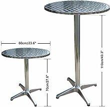 Alu Silber Bistrotisch Höhenverstellbar Bartisch Bistro Tisch Stehtisch MDF Ø60cm