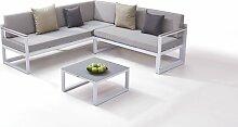 Alu Sitzgruppe Naldo - weiß - Aluminium