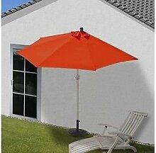 Alu Sonnenschirm halbrund 300cm terakotta Schirm Halbschirm mit Ständer