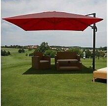 Alu Sonnenschirm Schirm 3x4m bordeaux Luxus