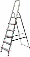 Alu-Stehleiter 6 Stufen / Sprossen, ECO, 203x51x22cm, Aluminium, Marke: Szagato (Stehleiter, Anlegeleiter, Aluleiter, Kombileiter, Leiter)