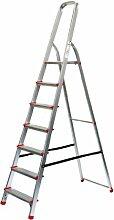 Alu-Stehleiter 7 Stufen / Sprossen, ECO, 227x53x22cm, Aluminium, Marke: Szagato (Stehleiter, Anlegeleiter, Aluleiter, Kombileiter, Leiter)